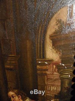 Tableau ancien Scène romantique 18 eme Superbe Ecole francaise