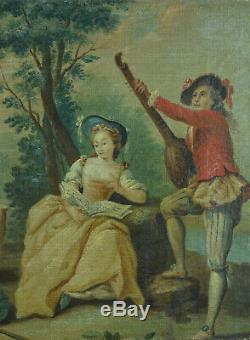 Tableau ancien Scène Galante Portrait Romantique Boucher Fragonard Musique 18e