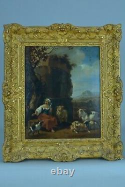 Tableau ancien Scène Pastorale paysage Bergère troupeau Flamand 17e sv Berchem