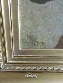 Tableau ancien Sophie Anderson(1823-1903), jeune fille aux grenades, 54,544 cm