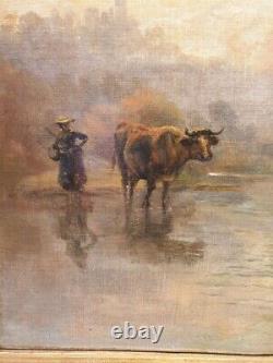 Tableau ancien Théodore Levigne vaches s'abreuvant