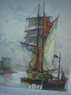 Tableau ancien VOILIER A CALVI CORSE M. Barle Ecole provençale XXe