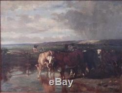 Tableau ancien Vaches dans un pré