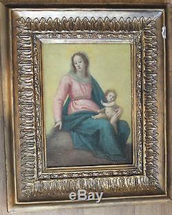Tableau ancien Vierge à l'enfant Anonyme XVIIème Superbe