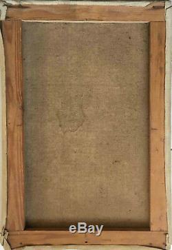 Tableau ancien Villa romaine en bord de mer HST signée L. Autier