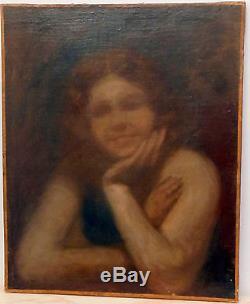 Tableau ancien XIXè siècle portrait de femme suiveur de Eugène Carrière