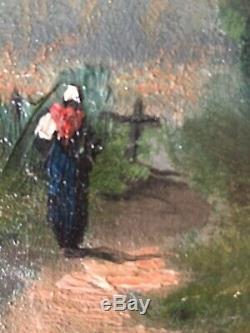 Tableau ancien XIXe Barbizon Paysage Paysanne sur un chemin Huile panneau signée
