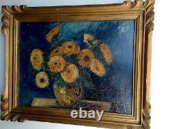 Tableau ancien XIXe CHALEYER Marie Louise Bouquet Fleurs Huile manière Van GOGH