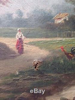 Tableau ancien XIXe Ecole de BARBIZON Paysage animé 19eme peinture à l'huile