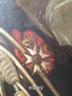 Tableau ancien XIXe Grand Portrait d'un Militaire Légion D'Honneur Huile 19eme