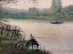 Tableau ancien XIXe Lucien HENRY Barbizon Paysage Barque Pêcheur Huile signée