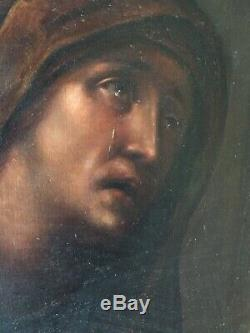 Tableau ancien XIXe Portrait Sainte Martyre Larmes Dans le Gout Andrea VACCARO