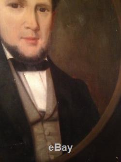 Tableau ancien XIXe Portrait d'Homme au noeud papillon Huile sur Toile 19ème