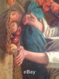 Tableau ancien XIXe Portrait d'enfants Huile sur bois Signé AUBRY cadre Deforge