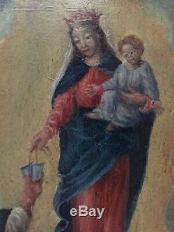 Tableau ancien XIXe Portrait de la Vierge Marie Huile sur panneau 19eme