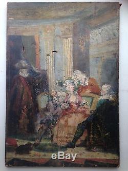 Tableau ancien XIXe Scène galante Ecole Française Huile sur Toile Antichambre