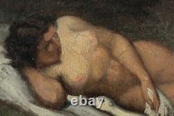 Tableau ancien, XIXe Siècle, Nu, Jeune femme, 1864, Monogramme J. V. K
