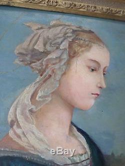 Tableau ancien-XIXe-Vierge-Huile-d'après Filippo Lippi-Madonna delle Roccie-OIL