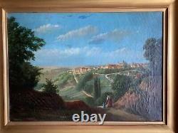 Tableau ancien XIXeme Ecole Italienne Paysage De la Campagne Romaine Huile toile