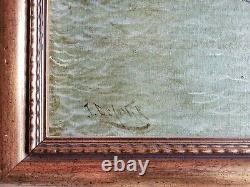 Tableau ancien XIXeme Marine Chargement de lin par J. DeCoster 6073 cm HC