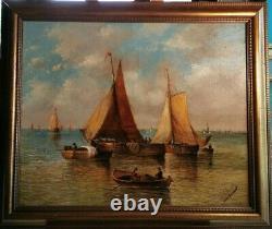Tableau ancien XIXeme Marine Chargement des marchandises par J. DeCoster 6073 cm