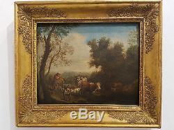Tableau ancien XVIII, Le repos du troupeau, Vache Chèvre Buf