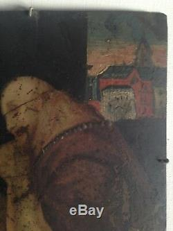 Tableau ancien XVIIIe Huile sur cuivre Saint Bruno à la Vanité Grande Chartreuse