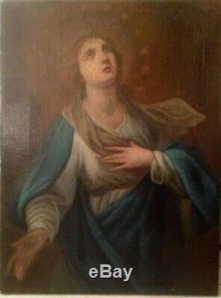 Tableau ancien XVIIIe Portrait de la Vierge Huile sur Toile 18eme