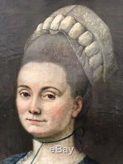Tableau ancien XVIIIe vers 1770 Portrait de dame de l'aristocratie HST bon état