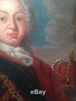 Tableau ancien XVIIIeme siècle Portrait du Roi de Pologne, Stanislas Ier Huile