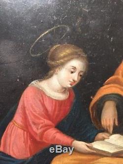Tableau ancien XVIIe Huile sur cuivre La Vierge Marie 17ème