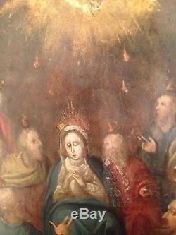 Tableau ancien XVIIe Huile sur cuivre La Vierge Marie oil on copper 17th