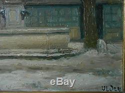 Tableau ancien a l'huile scène neige relais mont blanc sig (XX)