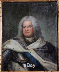 Tableau ancien à restaurer du 18è-Grand Portrait de Stanislas Ier