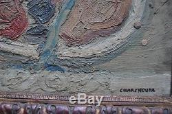 Tableau ancien abstrait composition huile peinture signée Charchoune
