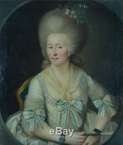 Tableau ancien beau portrait Jeune femme Louis XVI courtisane éventail 18e cadre