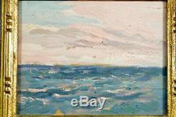 Tableau ancien belle étude de ciel Sennelier pays basque bord de mer N°2 hsp