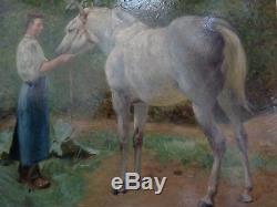 Tableau ancien cheval blanc Denis Caucaunier 1860-1905 signé horse painting