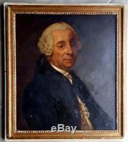 Tableau ancien école française du 18ème superbe portrait d'homme de la cours