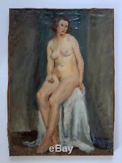 Tableau ancien école moderne superbe portrait de femme nue PRIX SACRIFIÉ