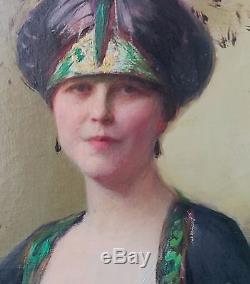 Tableau ancien d époque art nouveau portrait femme 1926 huile sur toile signée