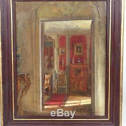 Tableau ancien d'une scène d'intérieur