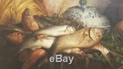 Tableau ancien de Auguste Truphème, Aix en Provence Nature morte aux poissons