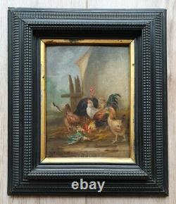 Tableau ancien de Claude Guilleminet scène de basse cour poules coq dindon
