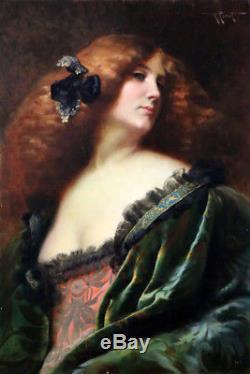 Tableau ancien du 19è-Grand Portrait peint par Albert Penot (1862-1930)