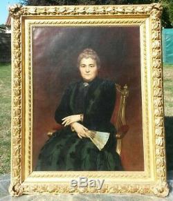 Tableau ancien du 19è-Portrait d'une dame de qualit signée Auguste Raynaud 1892
