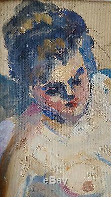 Tableau ancien école française superbe portrait de femme nue fauvisme