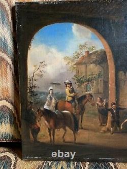 Tableau ancien école hollandaise a Identifier Écurie Cheval Chevaux