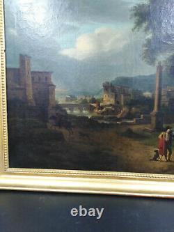Tableau ancien école italienne du XVIIIème paysage animé ville antique Rubicon