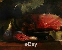 Tableau ancien école italienne nature morte figues fruits huile panneau bois